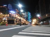 Vista di notte a dei quartieri alti immagini stock libere da diritti