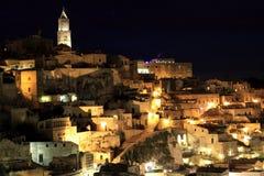 Vista di notte del †di Matera, Italia « fotografia stock libera da diritti
