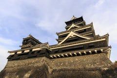Vista di notte del castello di Kumamoto Fotografie Stock