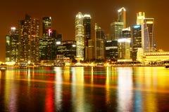 Vista di notte del cbd di Singapore Immagini Stock Libere da Diritti