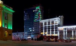 Vista di notte del centro di affari di VIPR fotografia stock