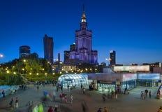 Vista di notte del centro di Varsavia, Fotografia Stock Libera da Diritti