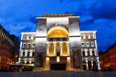 Vista di notte del centro urbano in Timisoara il 22 luglio 2014 Immagini Stock