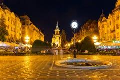 Vista di notte del centro urbano in Timisoara il 22 luglio 2014 Fotografia Stock Libera da Diritti