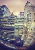 Vista di notte del fish-eye di stile di Instagram di Manhattan, NYC Fotografia Stock Libera da Diritti