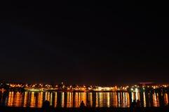 Vista di notte del lago del ¡ di Paranoà Fotografia Stock