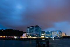 Vista di notte del molo del punto di Jesselton Fotografie Stock Libere da Diritti