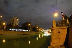 Vista di notte del Mosca-fiume Immagini Stock Libere da Diritti