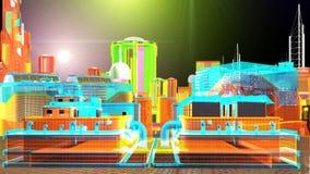Vista di notte del paesaggio virtuale della città di scifi illustrazione di stock