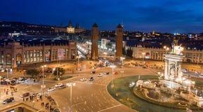 Vista di notte del quadrato spagnolo, Barcellona Fotografia Stock Libera da Diritti