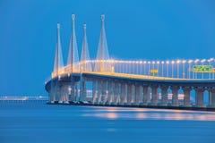 Vista di notte del secondo ponte di Penang, George Town Penang Fotografia Stock Libera da Diritti