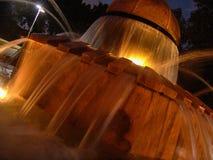 Vista di notte dell'acqua corrente della fontana della rana del parco del locale di Herzel, illuminata dalle luci gialle calde immagine stock libera da diritti