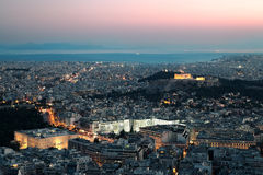 Vista di notte dell'acropoli. Fotografia Stock Libera da Diritti