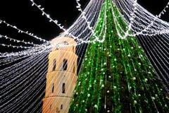 Vista di notte dell'albero di Natale a Vilnius, Lituania Celebrazione delle feste di natale negli stati baltici Fotografie Stock Libere da Diritti