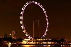 Vista di notte dell'aletta di filatoio di Singapore Fotografia Stock