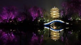 Vista di notte dell'edificio di Haoran a Jinan, Cina immagini stock libere da diritti