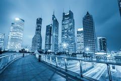 Vista di notte dell'orizzonte del centro finanziario di Schang-Hai Fotografie Stock Libere da Diritti