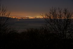 Vista di notte della capitale Bratislava Fotografie Stock Libere da Diritti