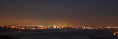 Vista di notte della capitale Bratislava Fotografia Stock