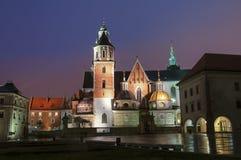 Vista di notte della cattedrale della st Stanislaus e della st Wenceslas ed il castello reale sulla collina di Wawel, Cracovia Fotografia Stock Libera da Diritti