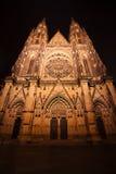 Vista di notte della cattedrale della st Vitus a Praga Fotografie Stock