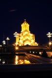 Vista di notte della cattedrale della trinità della st Immagine Stock