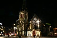 Vista di notte della cattedrale di Christchurch fotografia stock