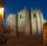 Vista di notte della cattedrale di Zamora (Spagna) immagine stock libera da diritti