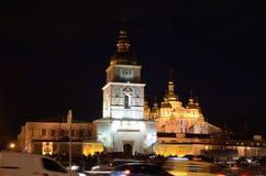 Vista di notte della cattedrale ortodossa nel Kyiv capitale ucraino Fotografie Stock