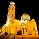 Vista di notte della cattedrale in Veliko Tarnovo, Bulgaria fotografia stock libera da diritti