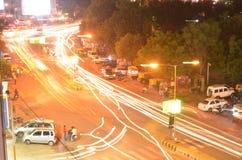Vista di notte della città di Ahmedabad Fotografia Stock