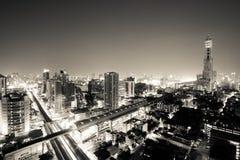 Vista di notte della città di Bangkok Fotografia Stock