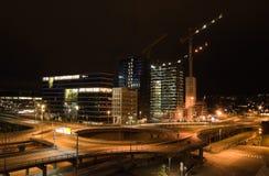 Vista di notte della città di Oslo Fotografia Stock