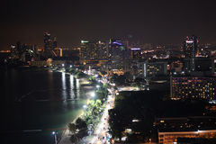 Vista di notte della CITTÀ di PATTAYA Immagine Stock Libera da Diritti