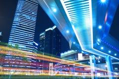 Vista di notte della città di Schang-Hai bella Immagini Stock