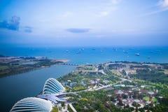 Vista di notte della città di Singapore Fotografia Stock Libera da Diritti