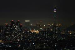 Vista di notte della città di Taipeh Immagine Stock Libera da Diritti