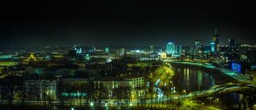 Vista di notte della città di Vilnius Fotografia Stock Libera da Diritti