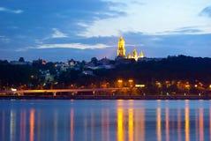 Vista di notte della città. Kiev Fotografia Stock