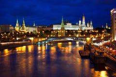 Vista di notte della città Mosca, Russia Fotografie Stock