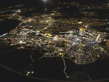 Vista di notte della città di Stoccolma fotografia stock