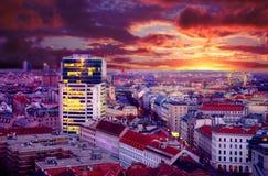 Vista di notte della città Vienna Fotografia Stock