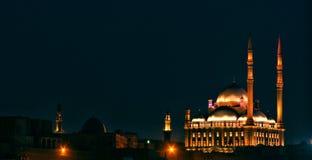 Vista di notte della cittadella dell'Egitto Cairo immagini stock libere da diritti