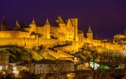 Vista di notte della fortezza di Carcassonne - Francia Fotografia Stock Libera da Diritti