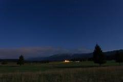 Vista di notte della pianura di Cansiglio Fotografia Stock