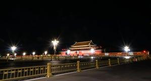 Vista di notte della piazza Tiananmen di Pechino Immagine Stock