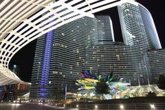 Vista di notte della striscia di Las Vegas Fotografia Stock