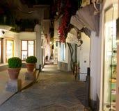 Vista di notte della via in Capri Fotografia Stock