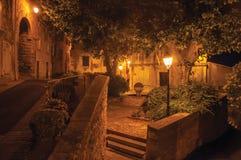 Vista di notte della via e delle case nel centro urbano affascinante del Châteauneuf-de-Gadagne Immagine Stock
