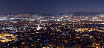 Vista di notte di Atene Immagini Stock